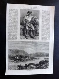 ILN 1875 Antique Print. Arctic Expedition. Hans Heindrich, View in Greenland